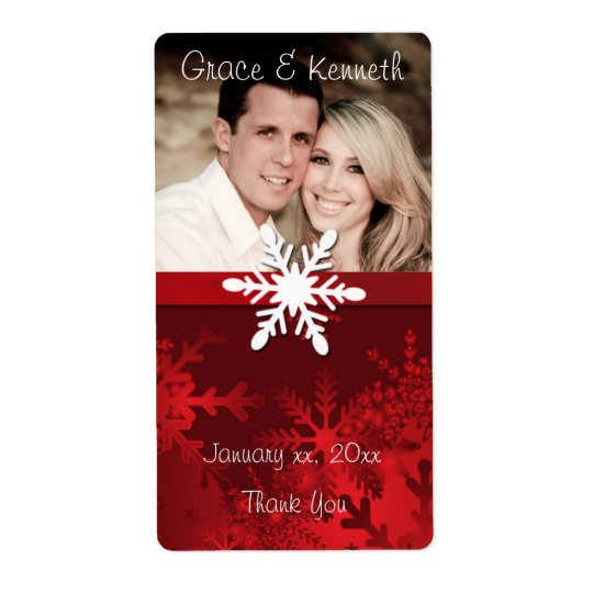 Holiday, Winter Wedding, Custom Photo, Wine Shipping Label