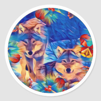 Holiday Wolves Classic Round Sticker