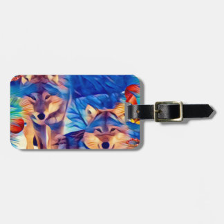 Holiday Wolves Luggage Tag
