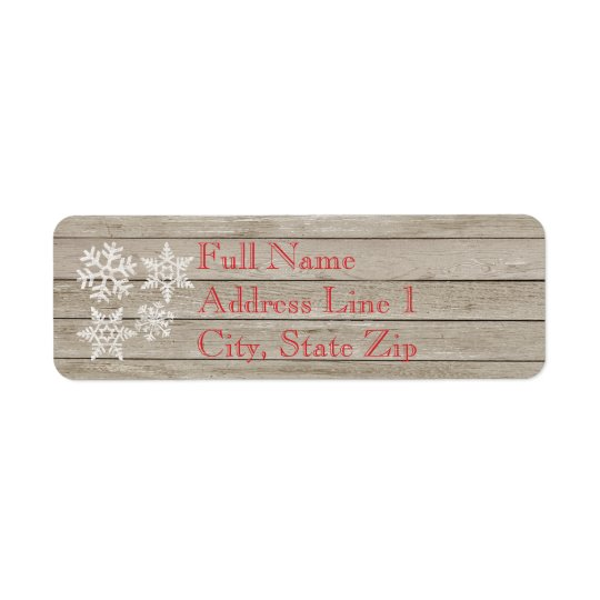Holiday Wood Snowflake Return Address Label