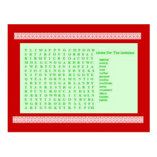 Holiday Word Find Puzzle Postcard