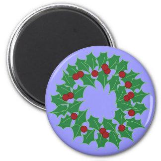 Holiday Wreath 6 Cm Round Magnet