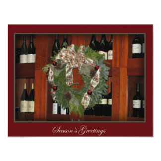 Holiday Wreath and Wine Invitation