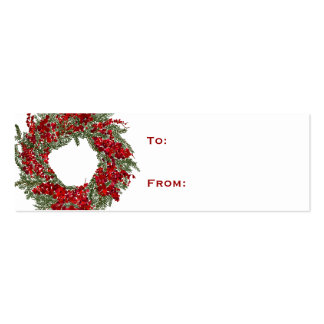 Holiday Wreath Christmas Gift Tag Business Card
