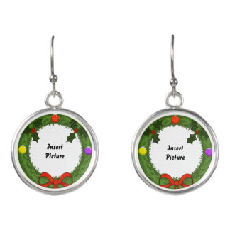 Holiday Wreath Customizable Picture Drop Earrings