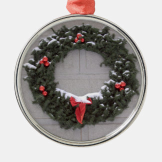 Holiday Wreath Silver-Colored Round Decoration