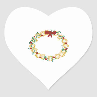 Holiday Wreath Heart Stickers
