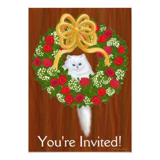 Holiday Wreath Kitten Invitation
