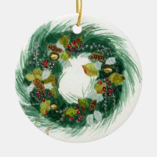 Holiday Wreath Round Ceramic Decoration