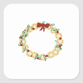 Holiday Wreath Square Stickers