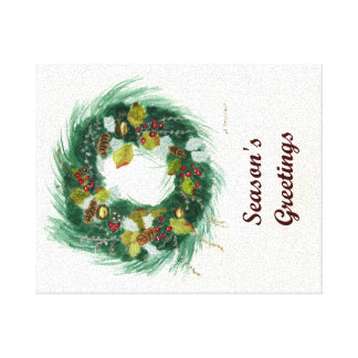 Holiday Wreath Stretched Canvas Prints