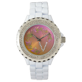 Holiday Wreath with Monogram Initial V Watch