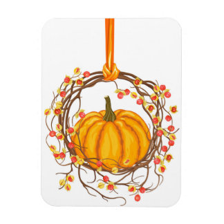 Holiday Wreath With Pumpkin Magnet