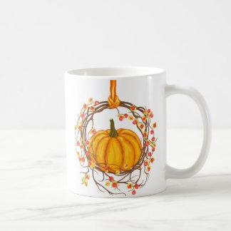 Holiday Wreath With Pumpkin Coffee Mugs