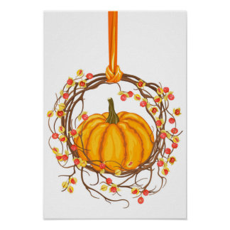 Holiday Wreath With Pumpkin Poster