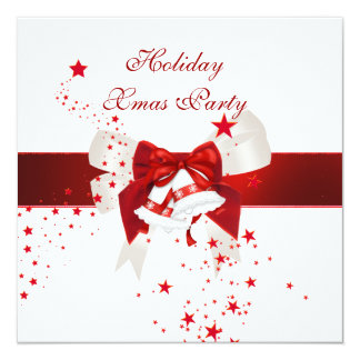 Holiday Xmas Christmas Party Red White Bow 13 Cm X 13 Cm Square Invitation Card