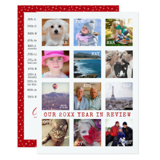 Holiday Year In Review | Custom 12 Photo Collage Card