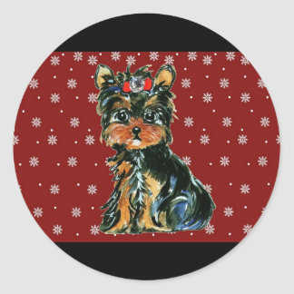 Holiday Yorkie Poos Classic Round Sticker