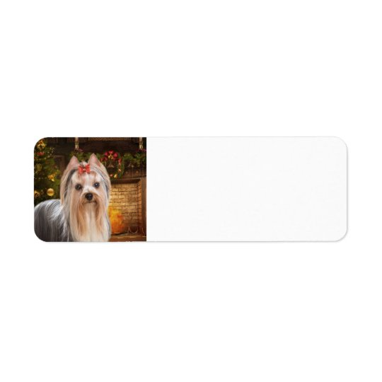 Holiday Yorkie Return Address Label