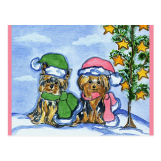 Holiday Yorkshire Terriers Postcard