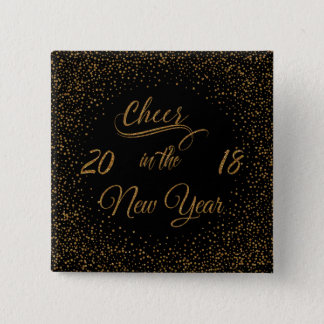 Holidays - Cheer In The New Year Gold Faux Glitter 15 Cm Square Badge
