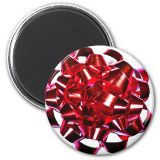 Holidays Christmas Winter Present Red Bow 6 Cm Round Magnet