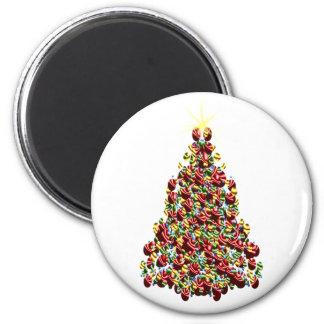 Holidays Christmas Winter Tree Decorated 6 Cm Round Magnet
