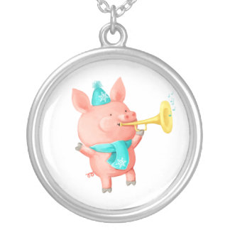 Holidays Cute Pig Silver Plated Necklace