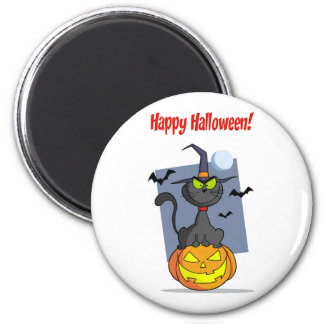 Holidays Greeting With Halloween Cat on Pumpkin 6 Cm Round Magnet