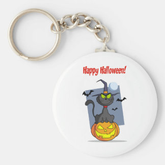 Holidays Greeting With Halloween Cat on Pumpkin Basic Round Button Key Ring