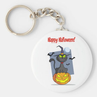 Holidays Greeting With Halloween Cat on Pumpkin Keychains