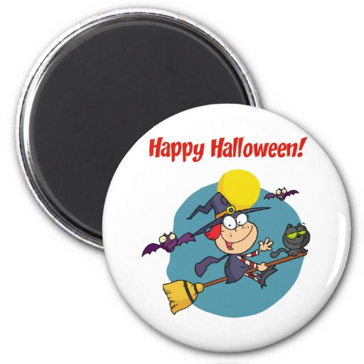 Holidays Greeting With Halloween Little Witch Magnets