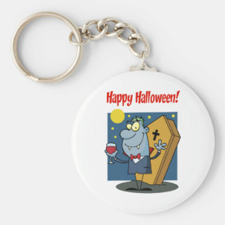 Holidays Greeting With Halloween Vampire Basic Round Button Key Ring