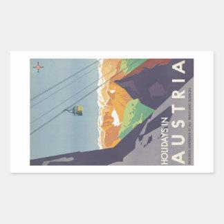 Holidays in Austria Mountains Vintage Travel Rectangular Sticker