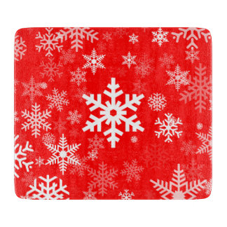 Holidays Snowflakes motif in red for Everyone Cutting Board