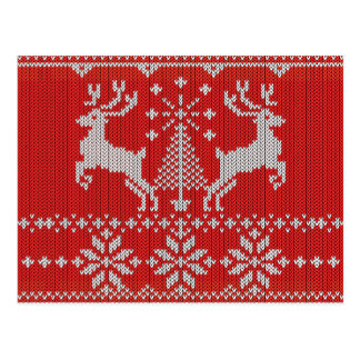 Holidays White Knit Ugly Sweater Ho Deer Post Card