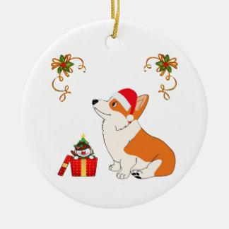 HolidayWelsh Corgi Cartoon Ceramic Ornament