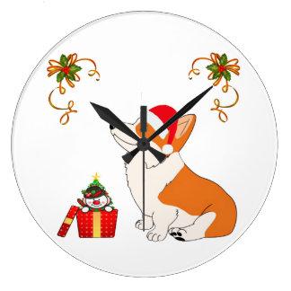 HolidayWelsh Corgi Cartoon Large Clock