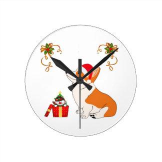 HolidayWelsh Corgi Cartoon Round Clock