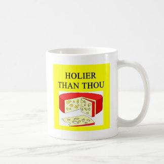 holier than thou swiss cheese joke mug