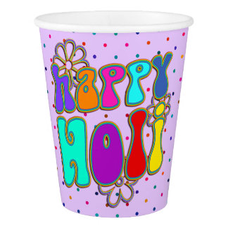 holiES - HAPPY HOLI colored outline flowers 1