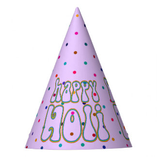 holiES - HAPPY HOLI simply colored outline 1 Party Hat