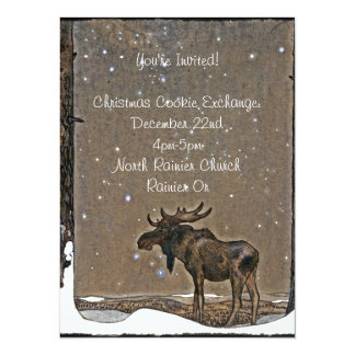 Holilday Moose in Snow 5.5x7.5 Paper Invitation Card