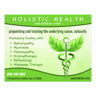 "Holistic Health Green Caduceus Symbol 8.5"" x 11"" Flyer"