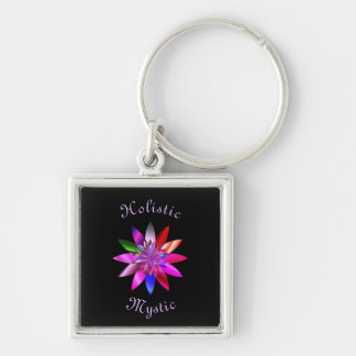 Holistic Mystic Silver-Colored Square Key Ring