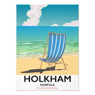Holkham Norfolk beach travel poster Photo