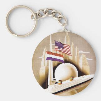 Holland America Line New York Basic Round Button Key Ring