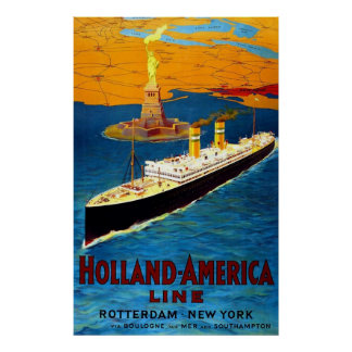 Holland America Line Rotterdam New York Poster