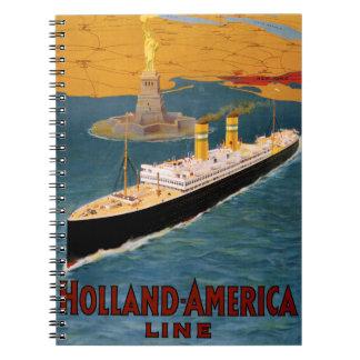Holland America Line Vintage Poster Restored Notebooks