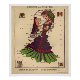 Holland & Belgium Caricature Map 1868 Poster